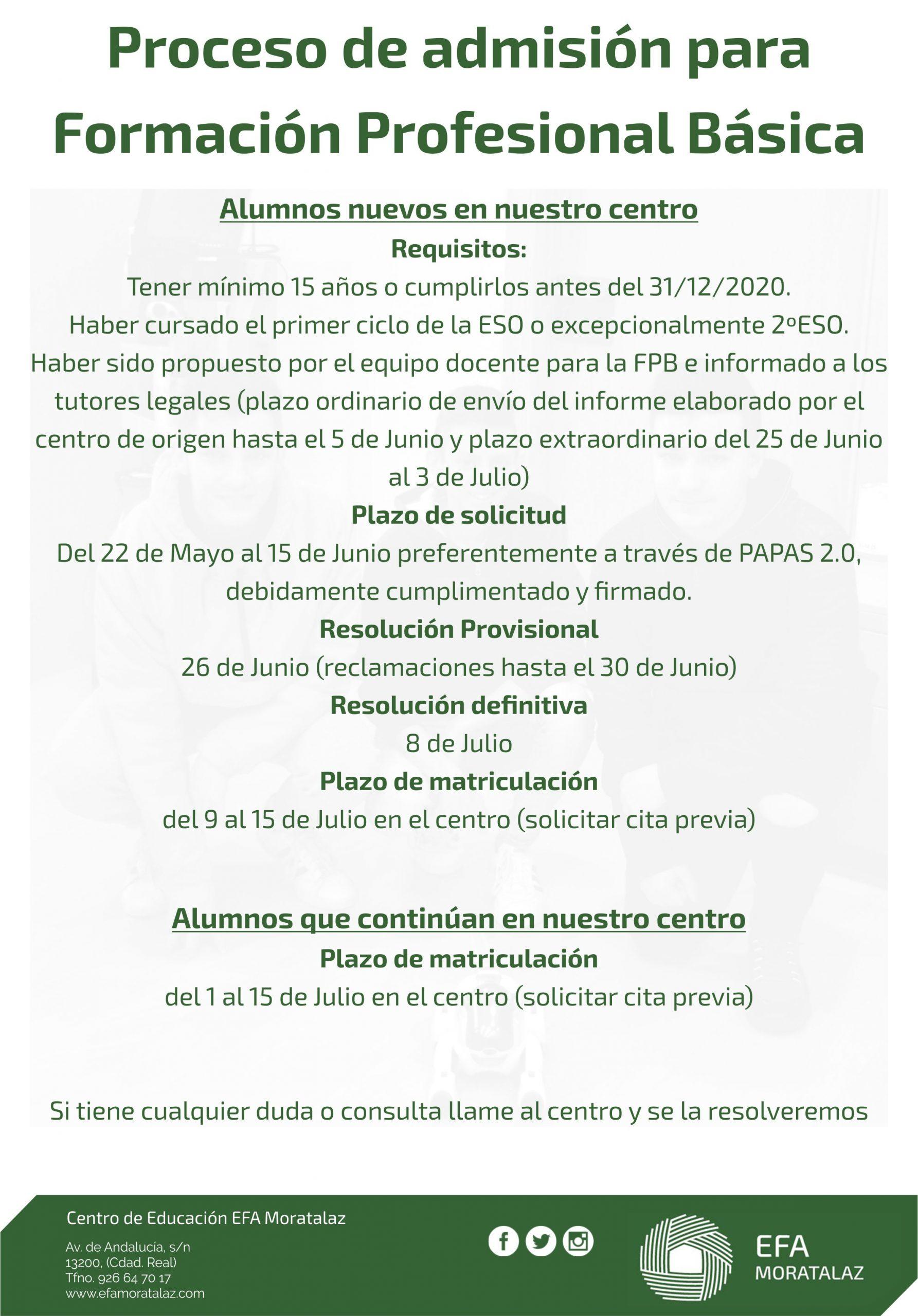 Abierto proceso de admisión pra Formación Profesional Básica